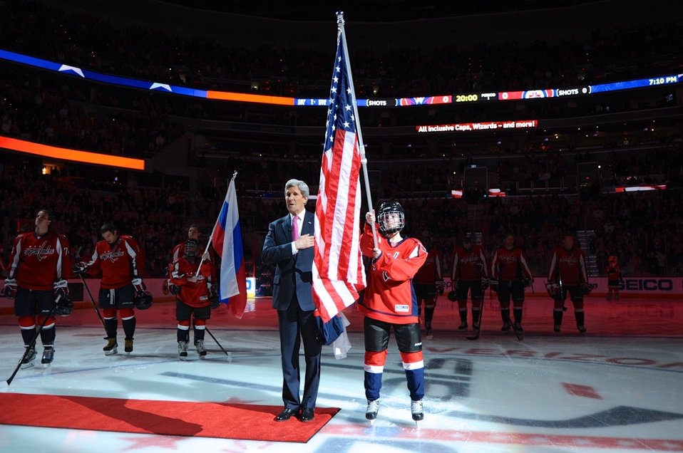 Secretary Kerry Signs National Anthem at Send-Off for Olympic Hockey Players