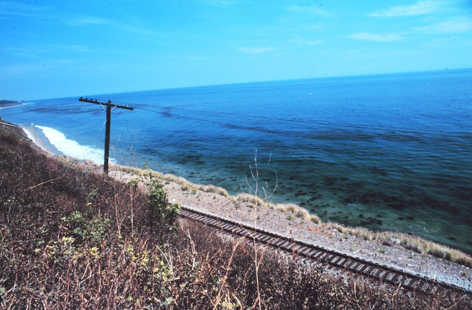 Looking over a seaboard railroad track to offshore kelp beds near Lompoc