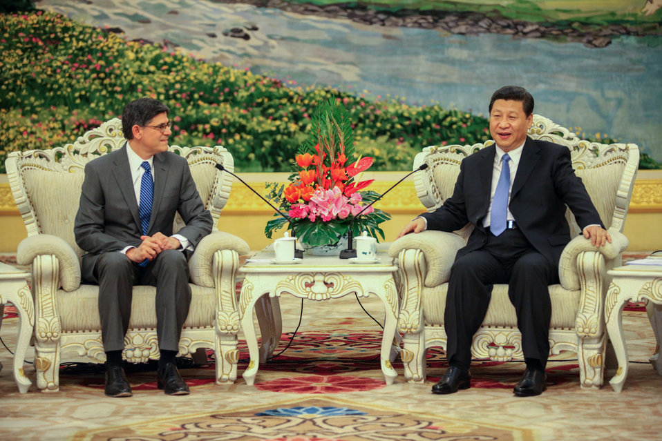 Secretary Lew speaks with China's President Xi Jinping during their meeting at the Great Hall of the People in Beijing on Tuesday, March 19, 2013.