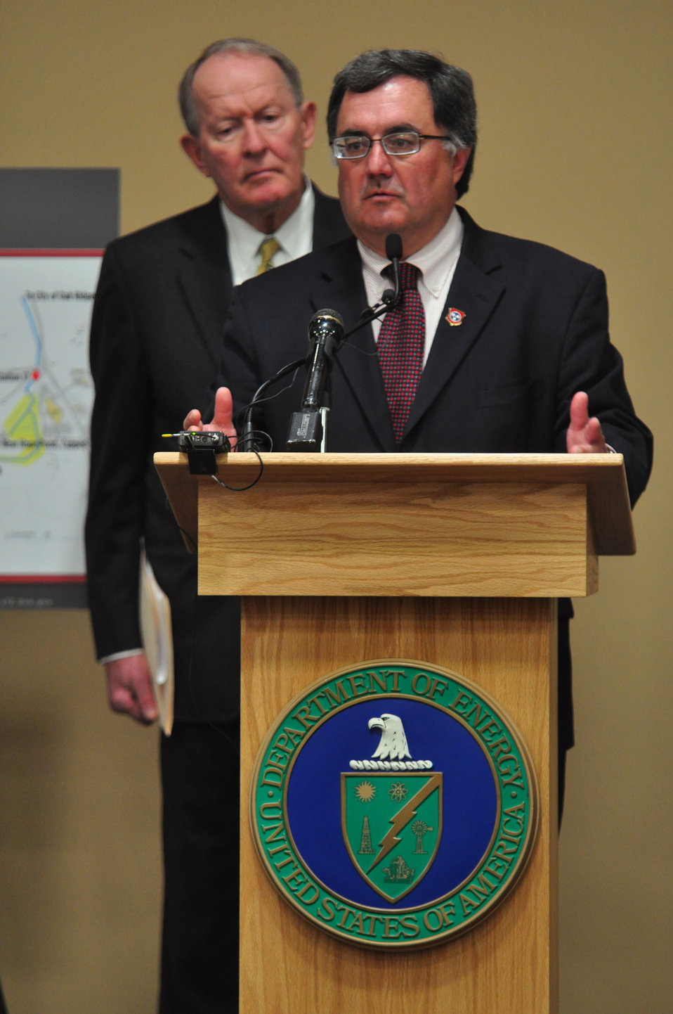 Mercury Cleanup Press Conference Y-12 Oak Ridge Speaking Robert Martineau Tennessee Department of Environment and Conservation Commissioner with U.S. Sen. Lamar Alexander (R-Tenn.) looking on