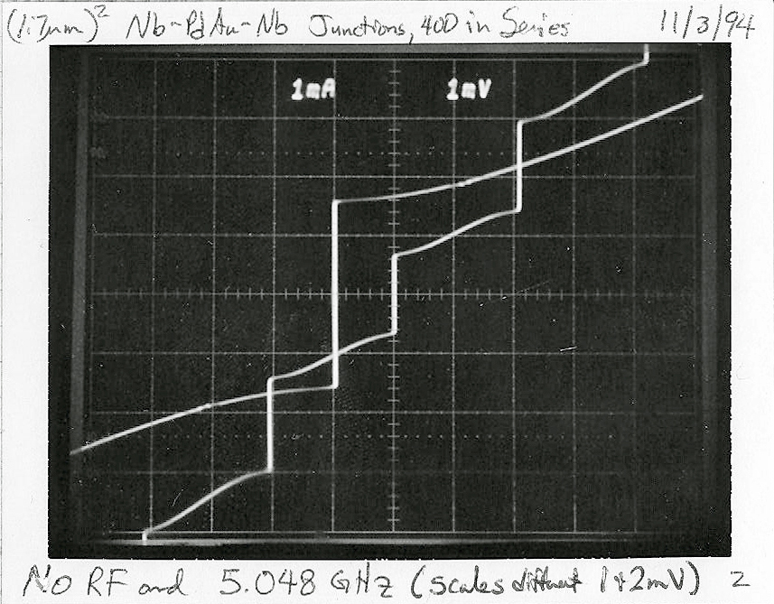 Original photo of oscilloscope traces (double exposure)