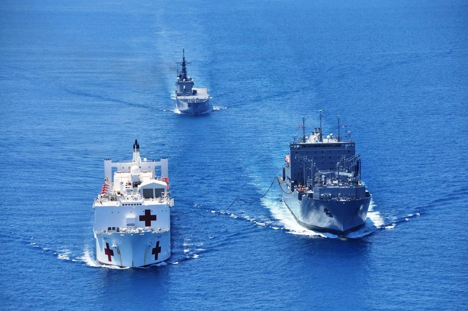 USNS Mercy Is Fueled at Sea By USNS Amelia Earhardt