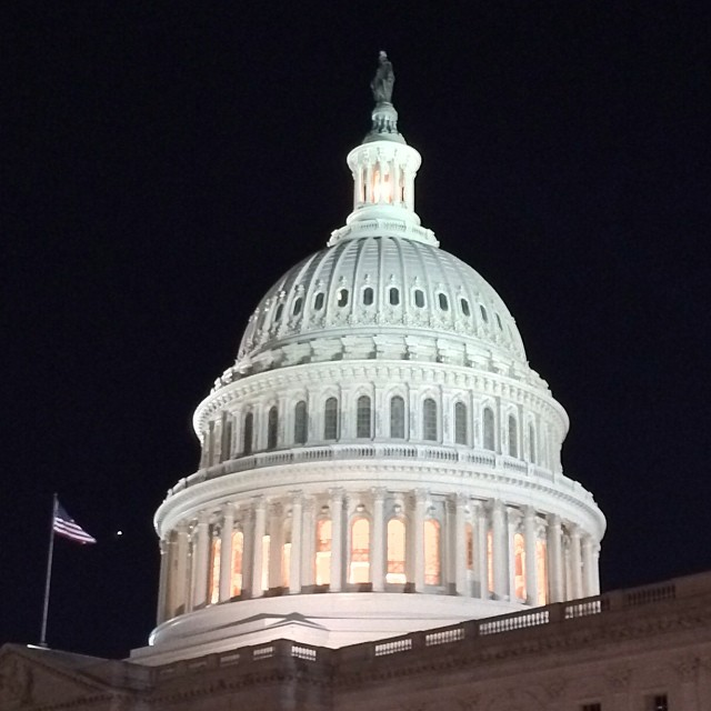 Tholos lit atop the #CapitolDome on beautiful evening in #DC.