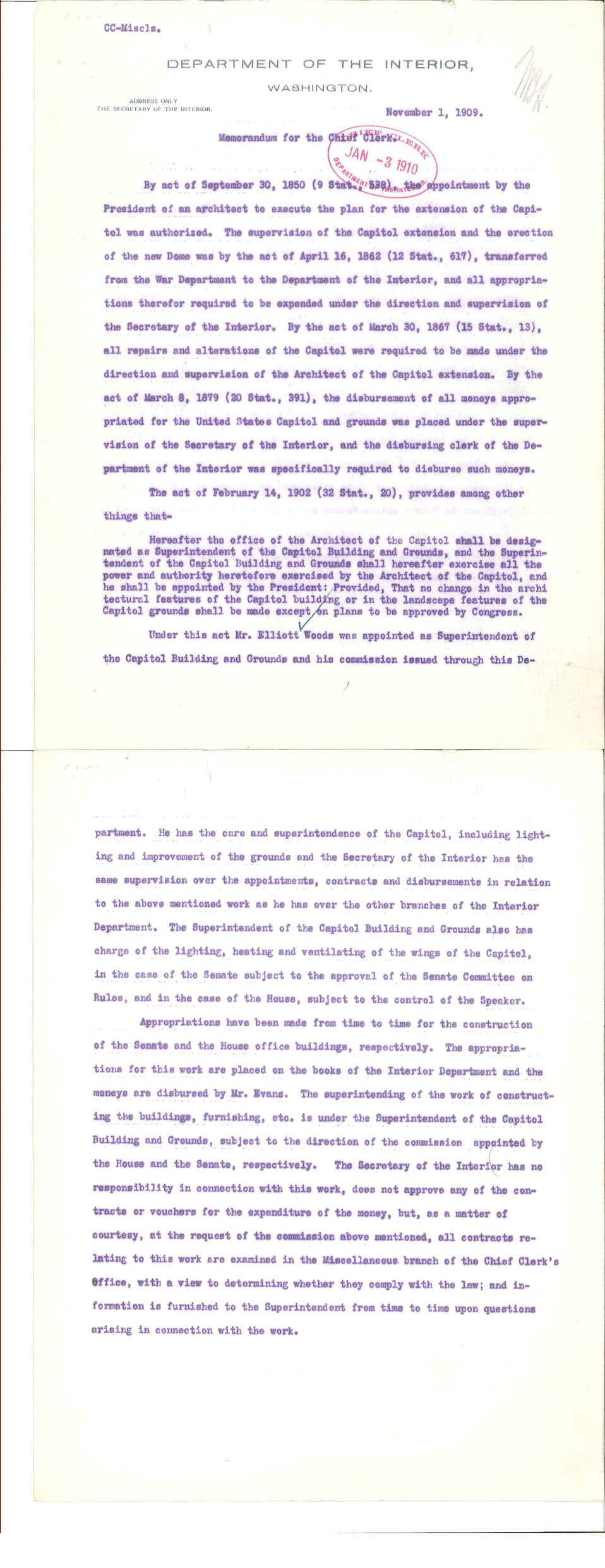 1909 Letter from Department of the Interior