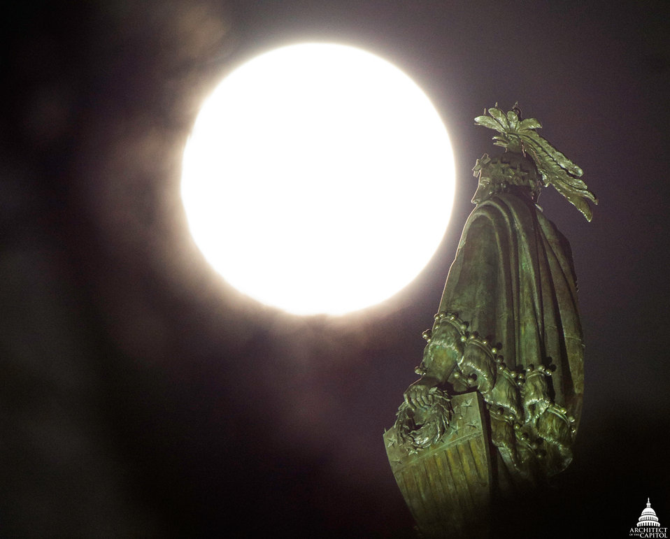 Supermoon Lights up Statue of Freedom