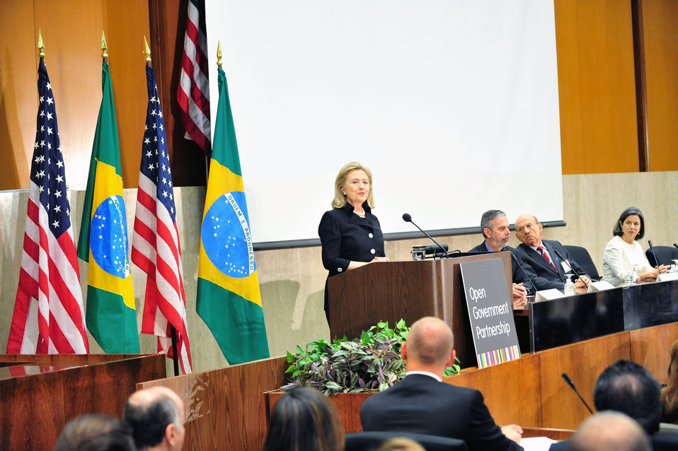 Secretary Clinton Delivers Remarks at Open Government Partnership High-Level Meeting