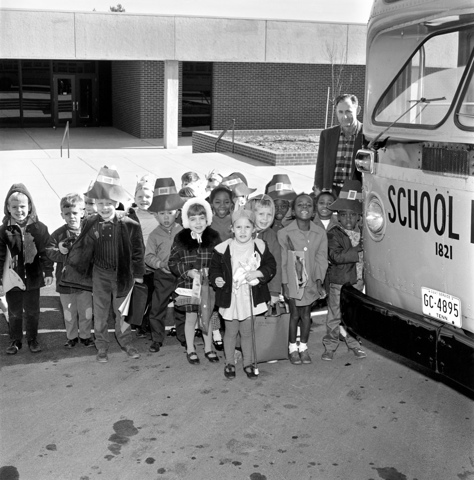 Childen at School Bus Oak Ridge 1968