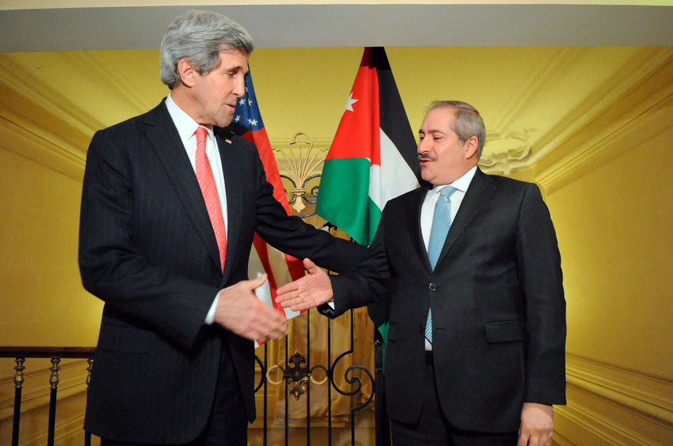 Secretary Kerry, Jordanian Foreign Minister Judeh Shake Hands After Addressing Reporters in Paris