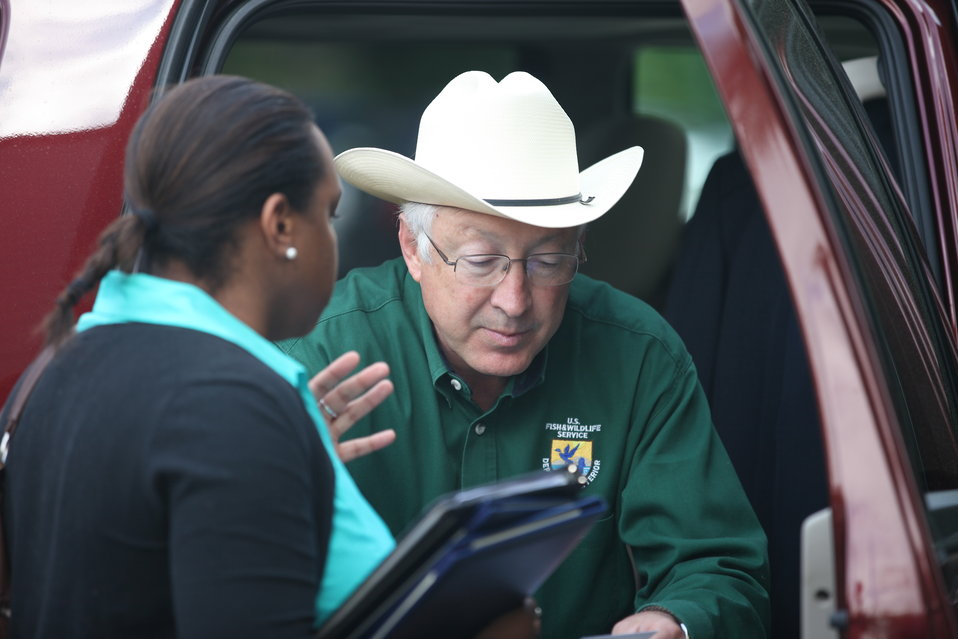 Sec. of Interior Ken Salazar arrives in Hartford, CT.