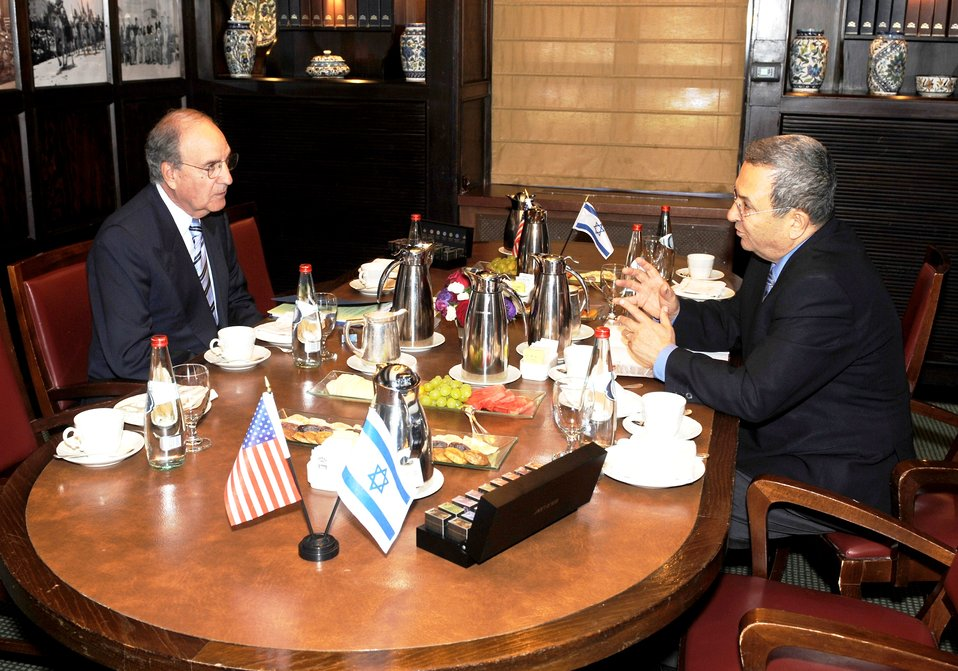 Israeli Defense Minister Barak and Special Envoy Mitchell Meet