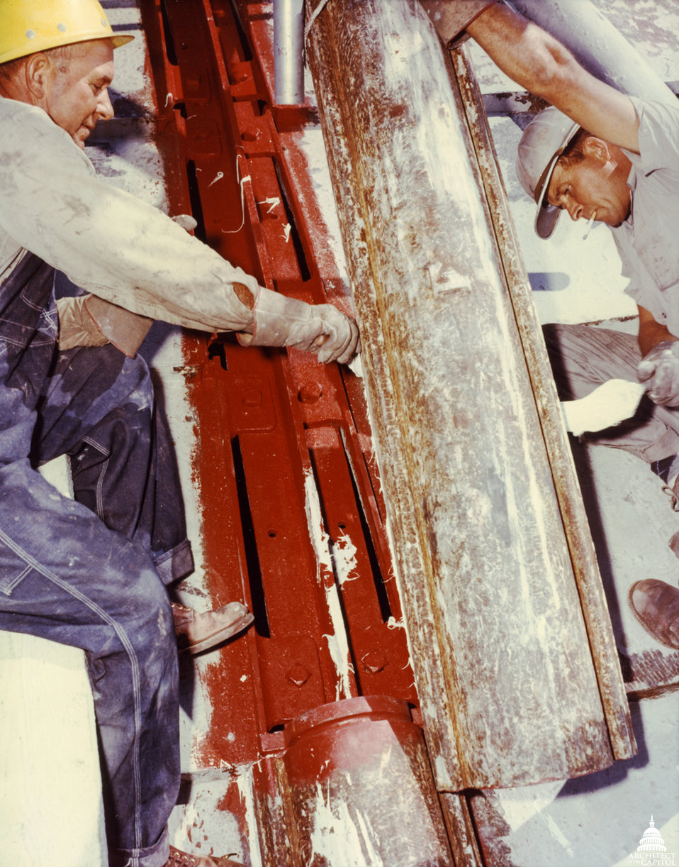 Workmen Stripping Paint from Dome 1960