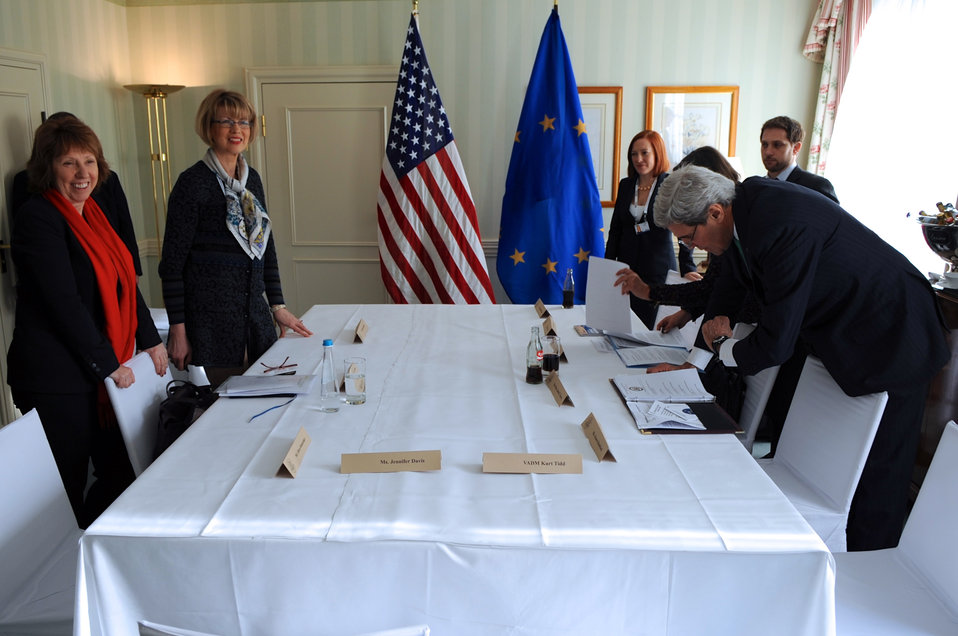 Secretary Kerry Prepares for a Meeting with EU High Representative Ashton