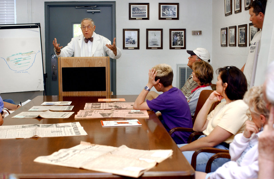 Bill Wilcox Lecturing to Visitors in a Oak Ridge Guard House 2003