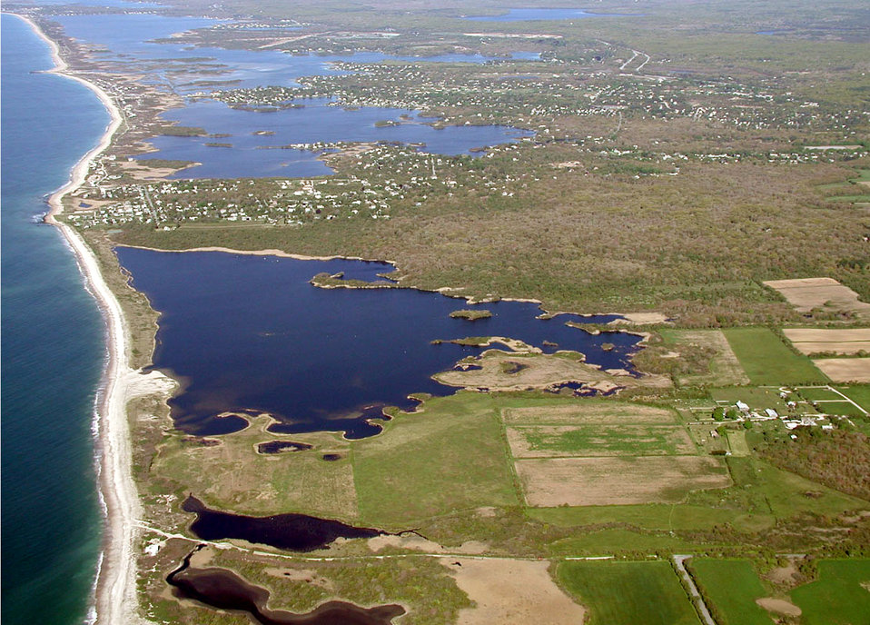 Aerial view of Trustom Pond before Hurricane Sandy (RI)