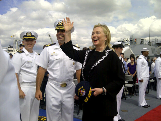 Secretary Clinton Waves While On Board the USS Fitzgerald in Manila