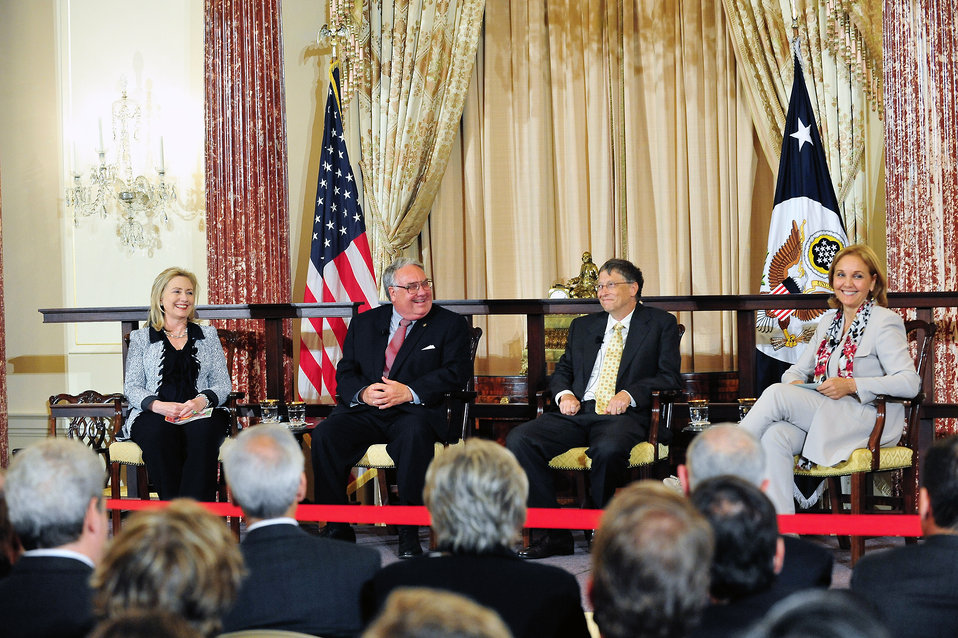 Secretary Clinton Participates in a Conversation With Awardees Howard Buffett, Bill Gates, and WFP Executive Director Josette Sheeran