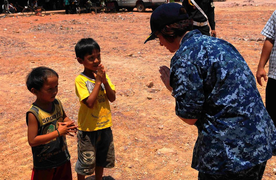 Two Cambodian Boys Show Gratitute to PP2010 Commander, Capt. Franchetti