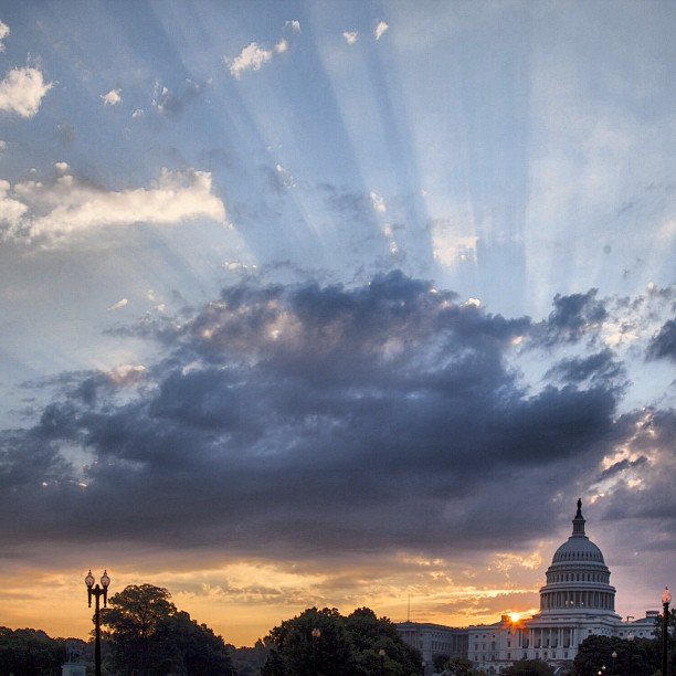 Capitol sunrise on a day expected to feel like 100  in #DC.