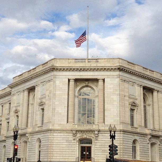 Flag at half-staff over Senate Russell bldg. Remembering Sen. Arlen #Specter.