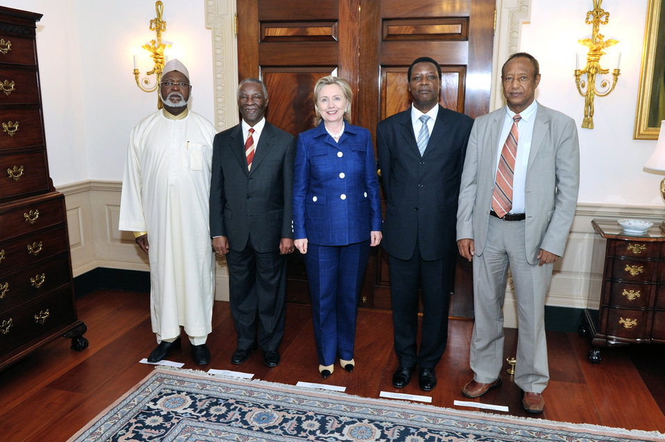 Secretary Clinton Meets With Former South African President Mbeki and UN Special Rep. for Sudan Menkerios