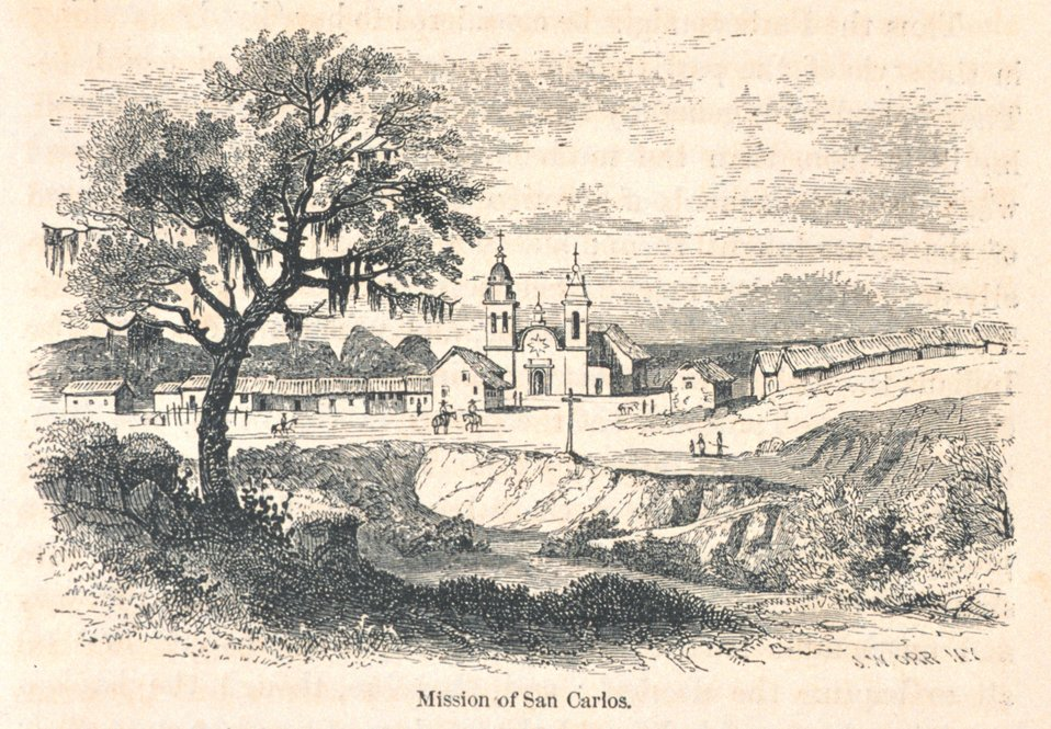 View of Mission San Carlos at Carmel. In: 'The Annals of San Francisco'.  Frank Soule, John Gihon, and James Nesbit.  1855.  Page 69.  D. Appleton & Company, New York.  F869.S3.S7 1855.
