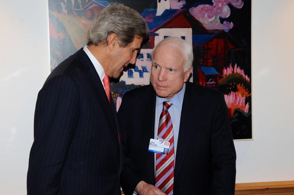 Secretary Kerry Chats With Senator McCain in Davos