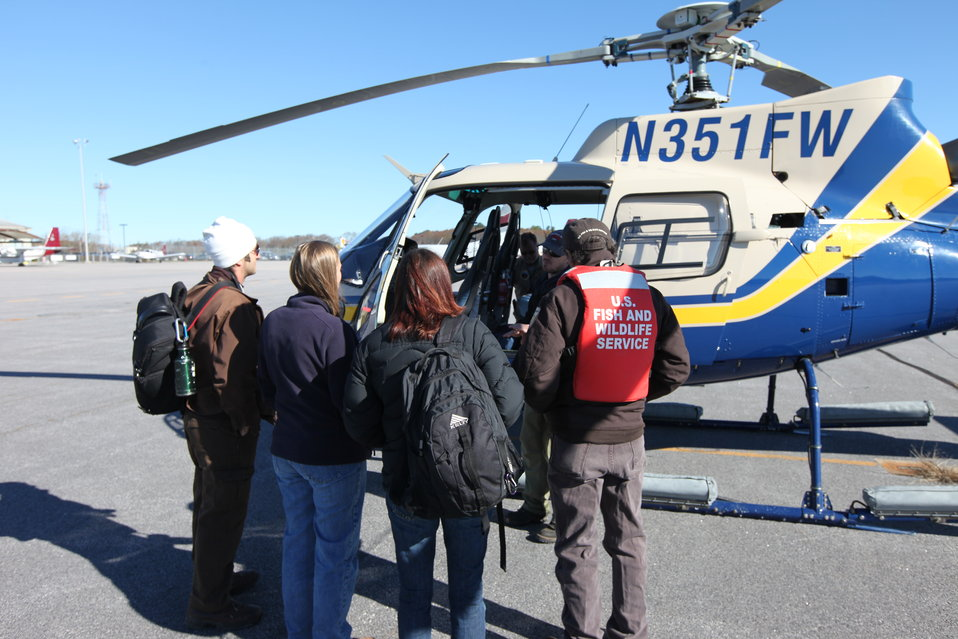 Rhode Island National Wildlife Refuge Complex staff prepare to board helicopter (RI)