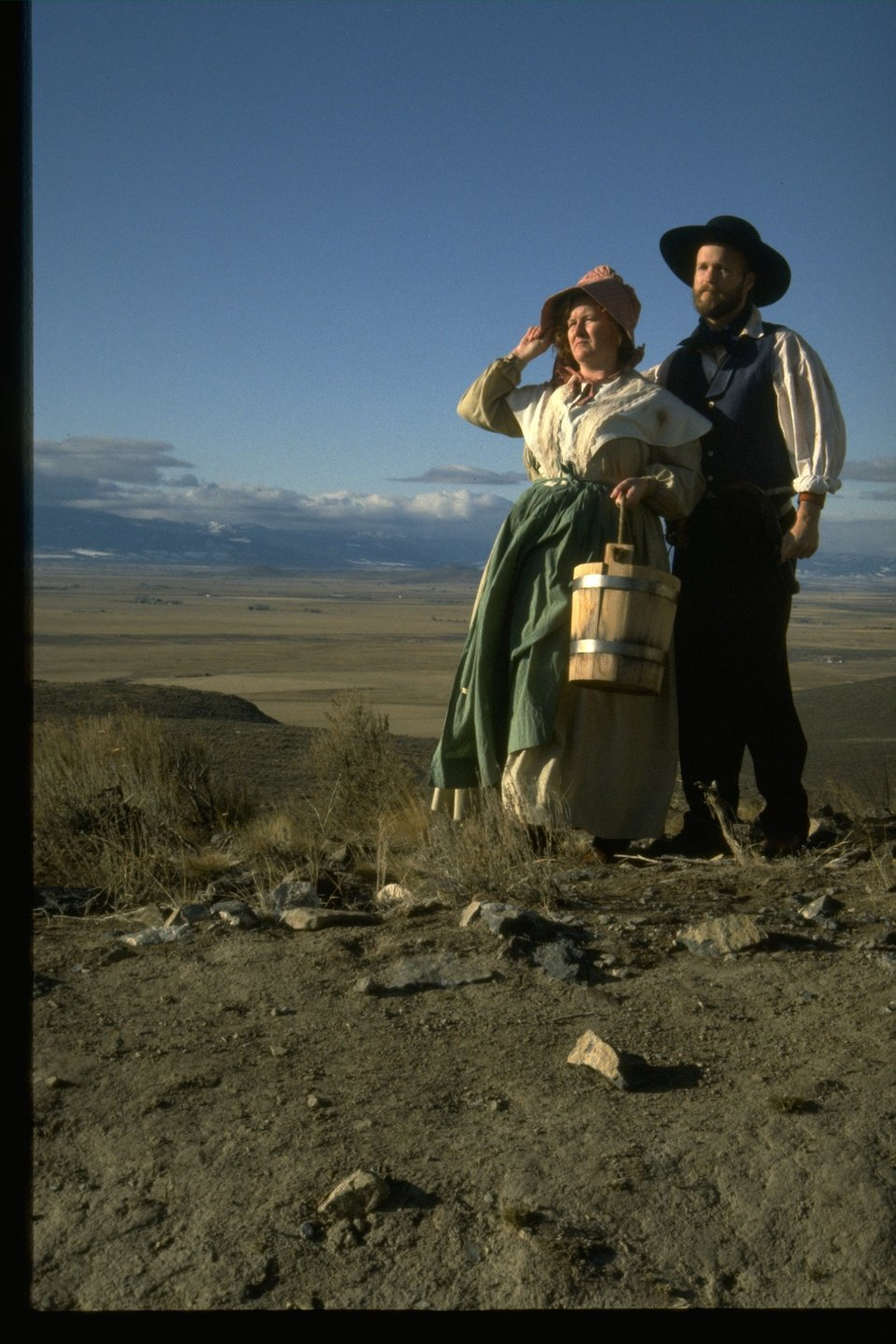 Pioneer couple (Pioneer re-enactors.)
