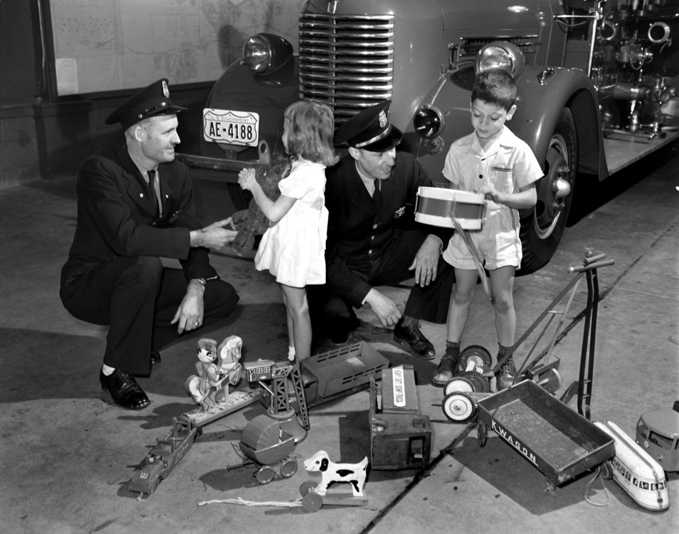 Christmas Toys To Be Fixed By Firemen Oak Ridge 1947