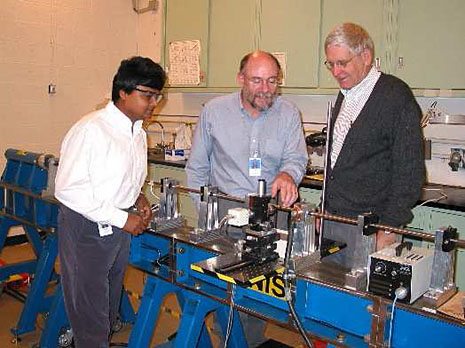 Timothy Burns (center) with Debasis Basak and Richard Rhorer