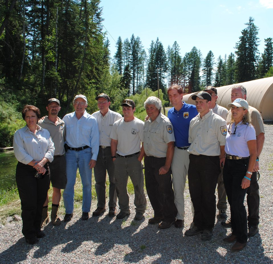 Secretary Salazar and Director Ashe with Creston National Fish Hatchery Staff