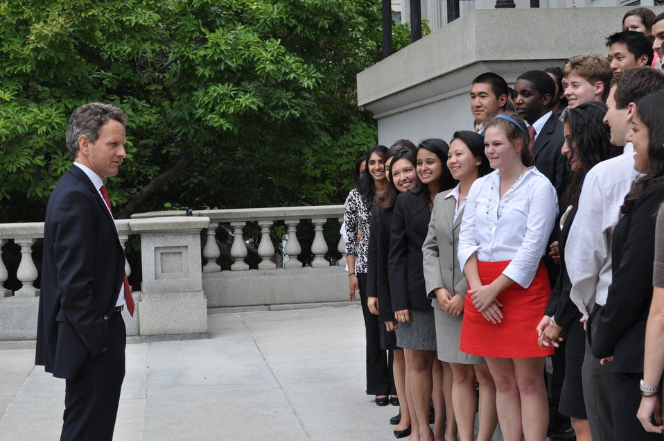 Secretary Geithner speaks to Summer 2012 interns