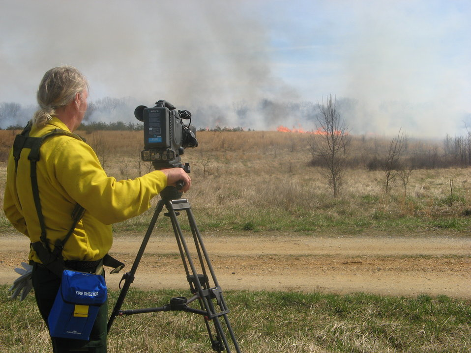 Filming controlled burn at Patuxent National Research Refuge