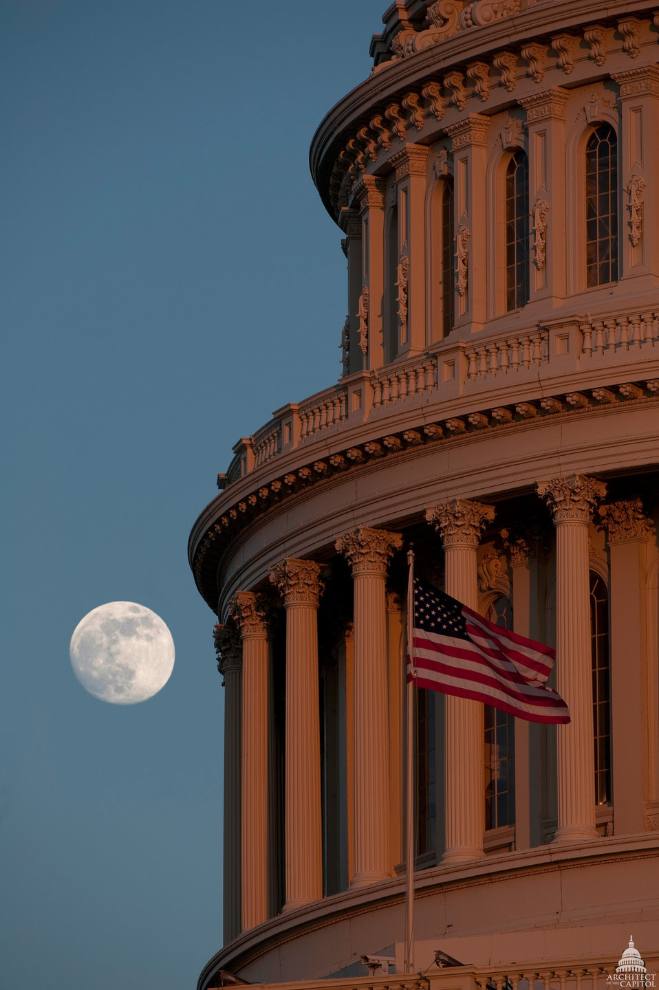 U.S. Capitol Dome and Full Moon