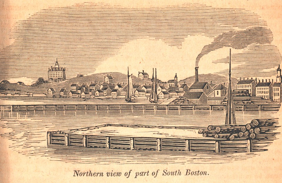 A northern view of South Boston.  The Washington House is the large building on the left. In: Historical Collections ... of Every Town in Massachusetts.  1841.