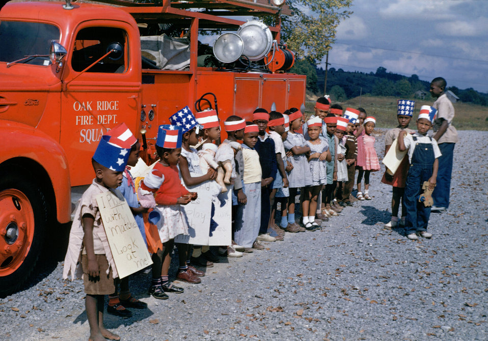 1940s Fire Truck and kids on Kodachrome  in Oak Ridge Tennessee