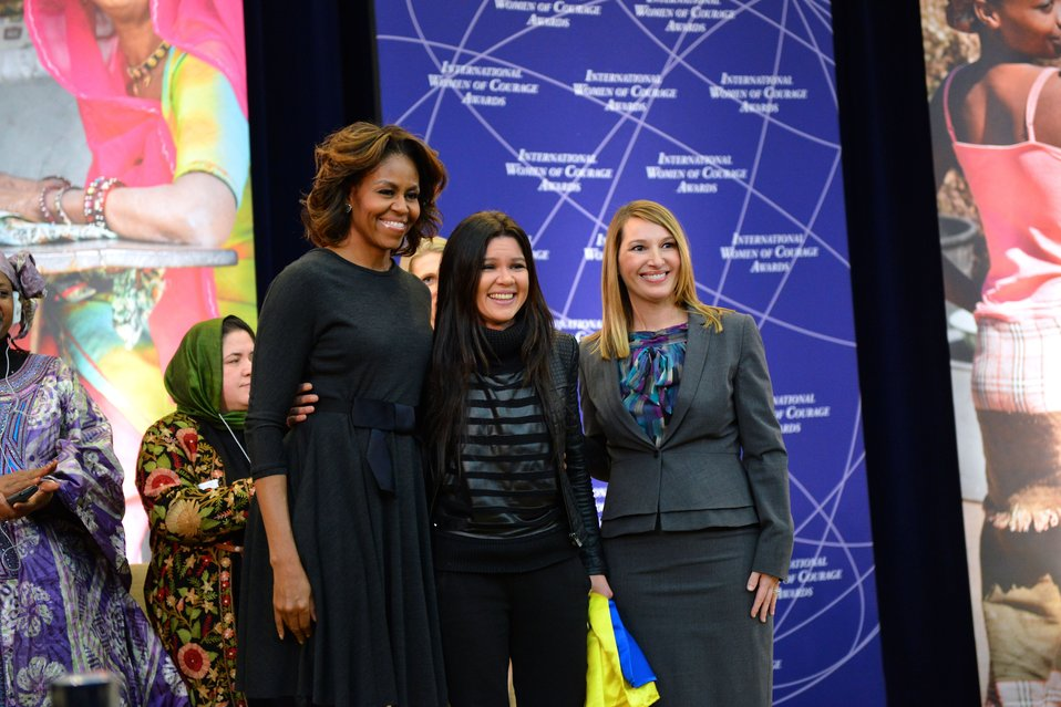 First Lady Michelle Obama and Deputy Secretary Higginbottom With IWOC Awardee Ruslana Lyzhychko of Ukraine