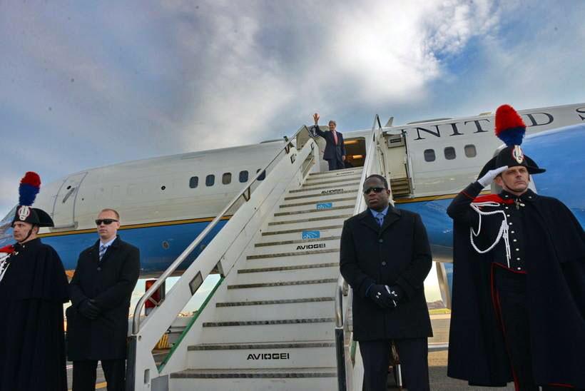 Secretary Kerry Waves Before Departing Rome