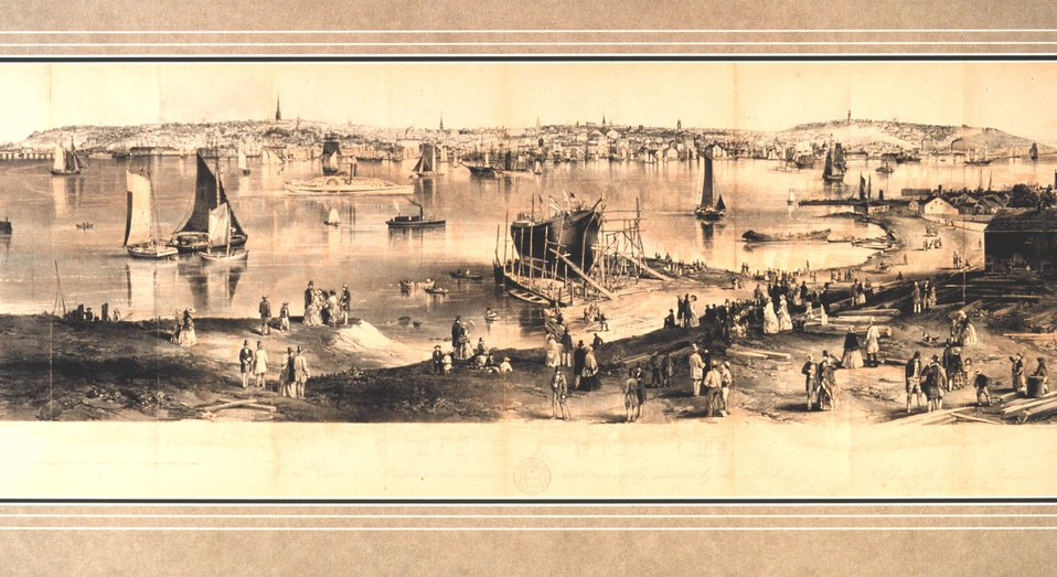 Portland Harbor. 'To the Citizens of Portland this picture is most respectfully dedicated by the publishers, Smith Brothers and Co.'  Painted by J. W. Hill.