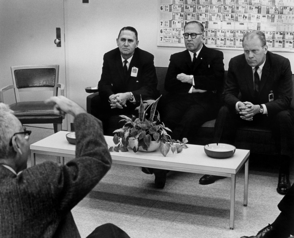Dr. Alvin Weinberg talks to Congressman John Duncan, Dr. C.E. Larson, Congressman Gerald Ford at Oak Ridge National Lab.