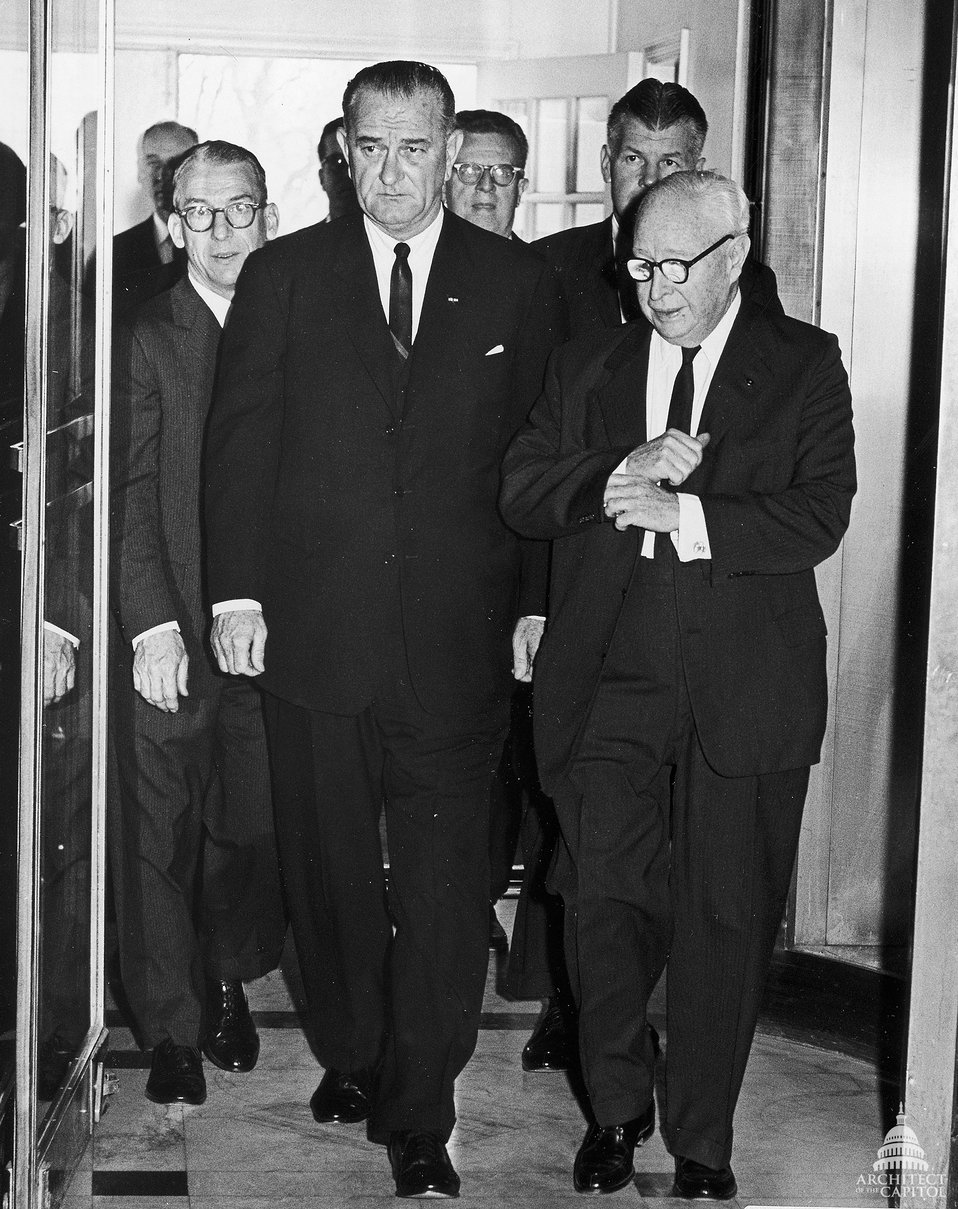 President Lyndon Johnson escorted by Architect J. George Stewart