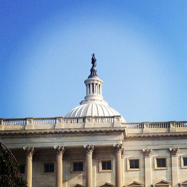 Sun shining on Freedom this morning at Capitol. #architecture