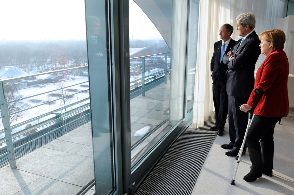 German Chancellor Merkel, Secretary Kerry, and Ambassador Emerson Look Out at Berlin Landmarks