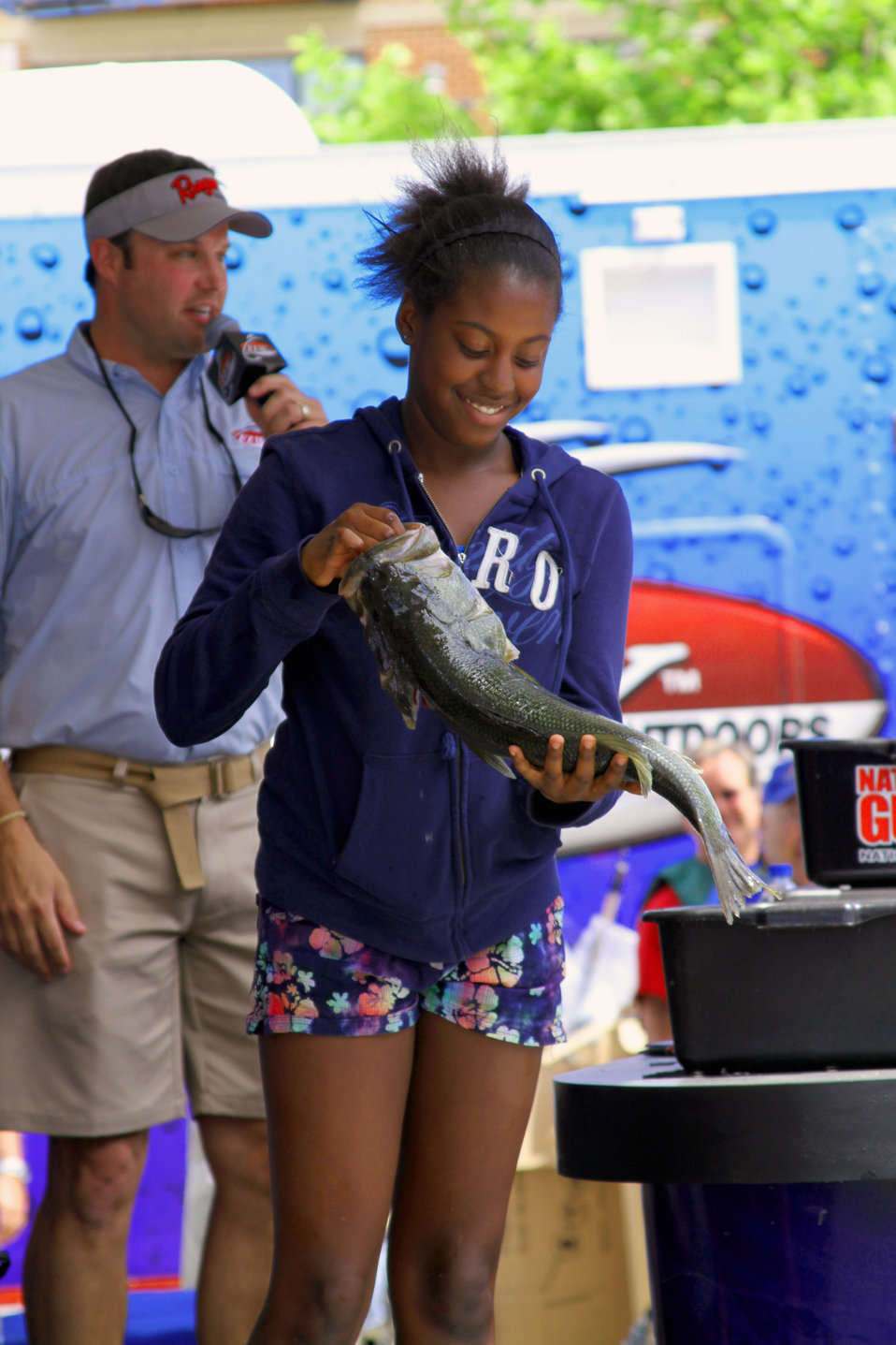 The winner of the morning's fishing contest at the National Harbor in Washington D.C.  A 6 pound Bass!