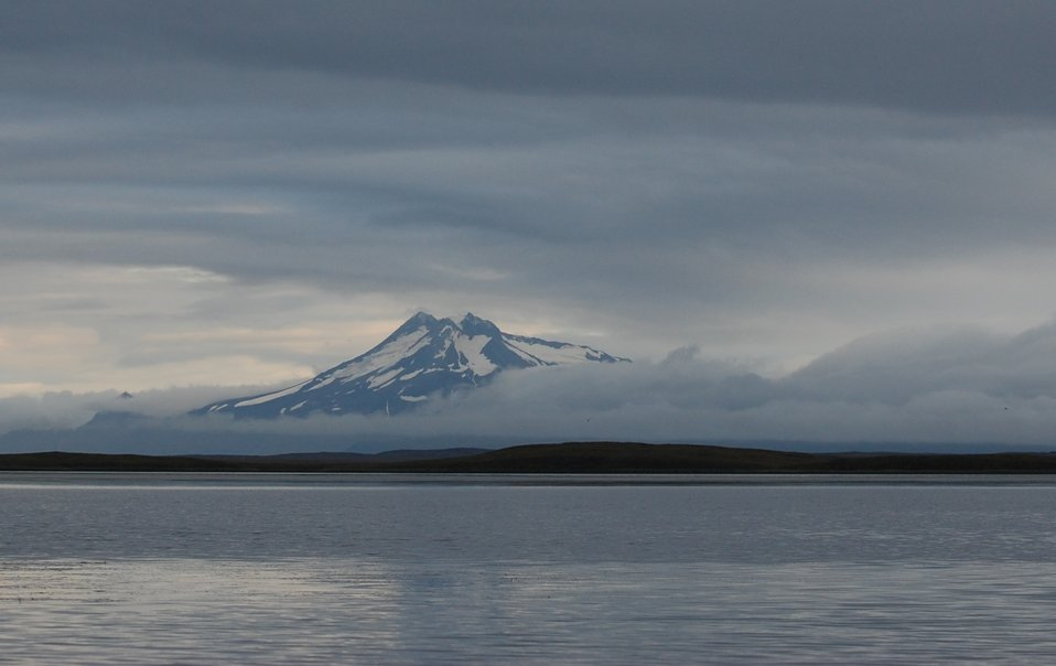 View of Volcanoes from Izembek Lagoon