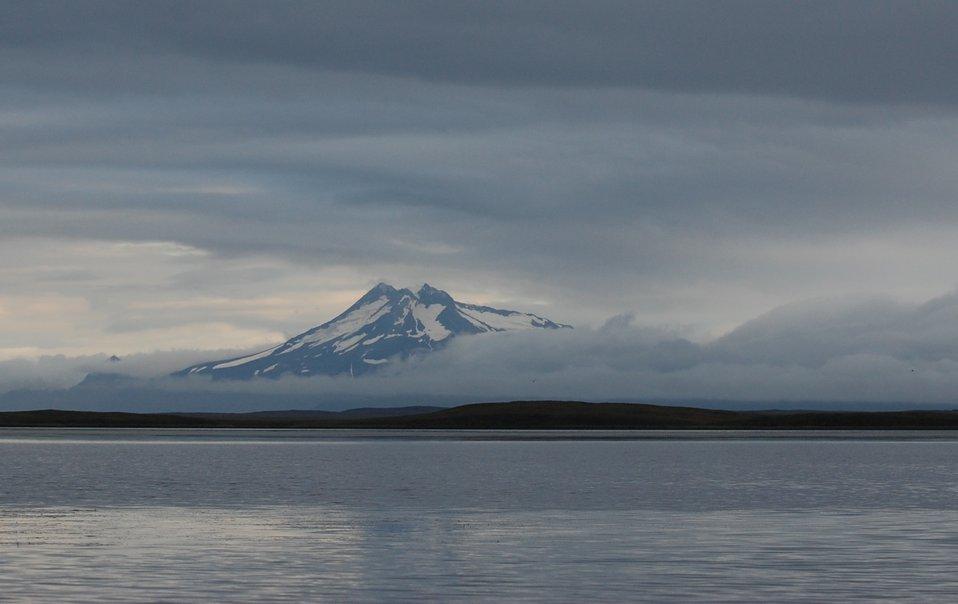 View of Volcanoes from Izembek Lagoon
