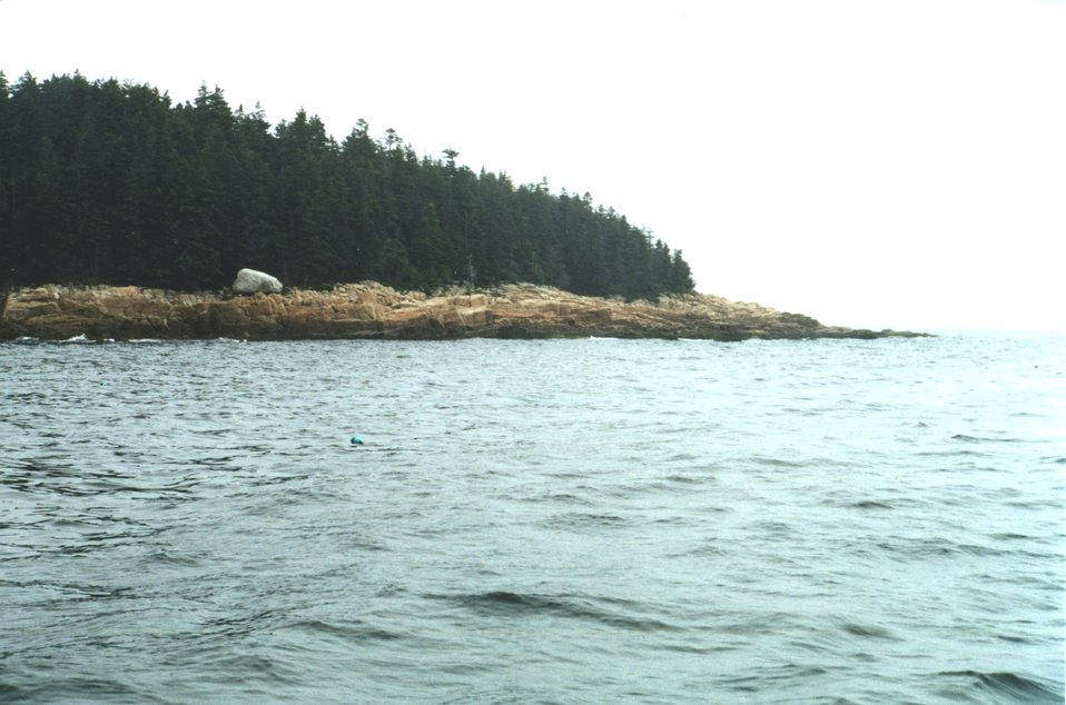 Glacial erratic boulder (white boulder in left center) trapped on eroding granite shoreline.
