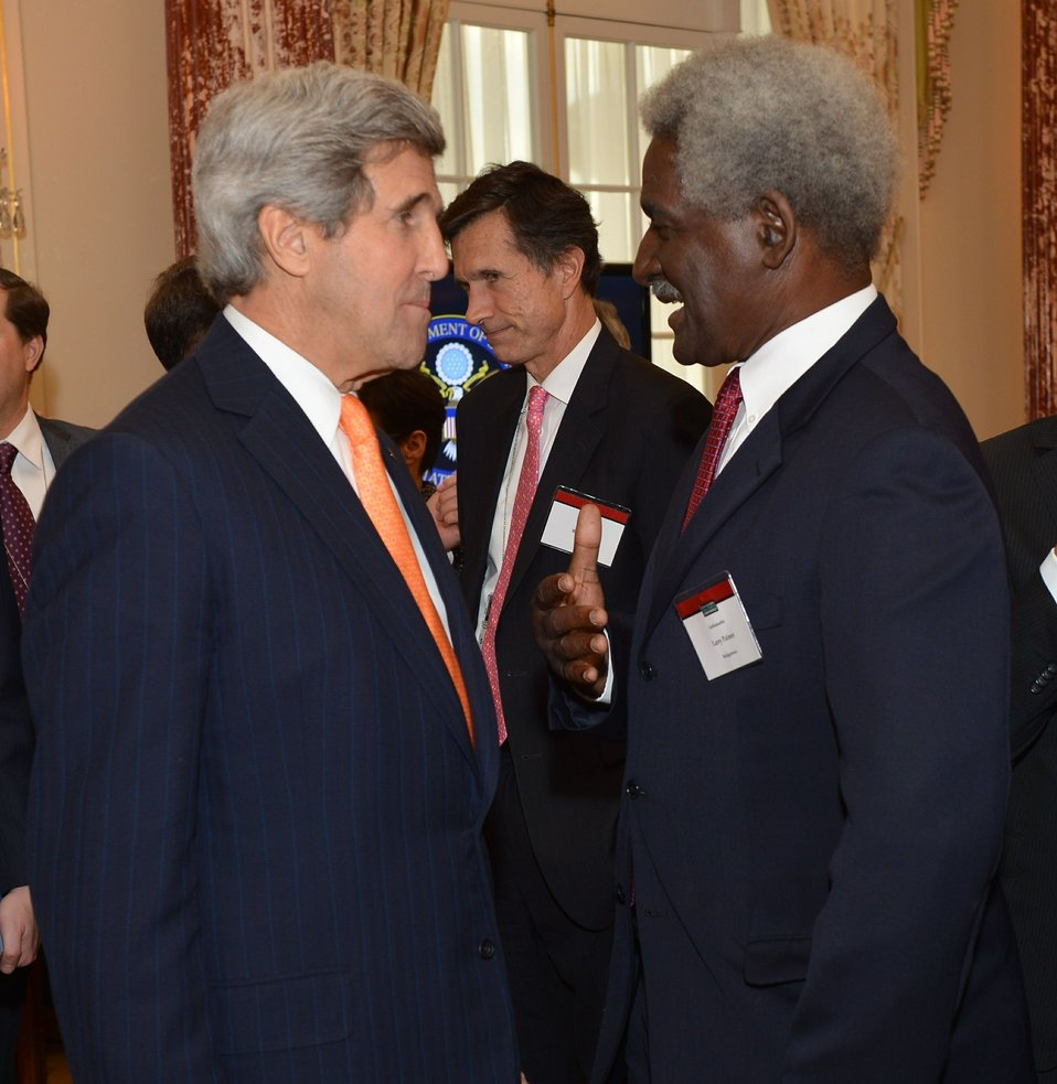 Secretary Kerry Chats With Ambassador Palmer