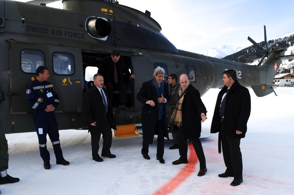 Secretary Kerry Arrives in Davos for World Economic Forum Speech