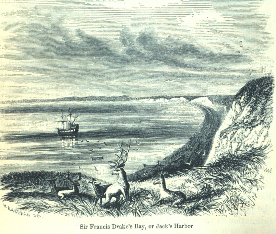 Fanciful view of Drake's Bay with the Drake's vessel, the GOLDEN HIND, at anchor Drake sailed on the California coast in 1577. In: 'The Annals of San Francisco'.  Frank Soule, John Gihon, and James Nesbit.  1855.  Frontispiece.  D. Appleton & Company